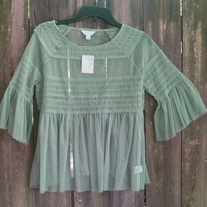Sheer green Top Size M